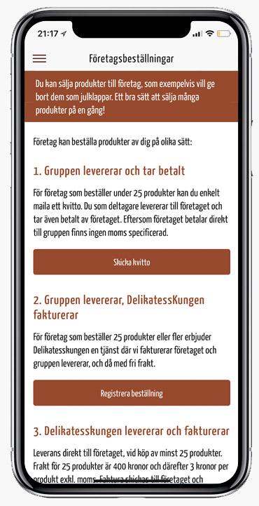 Företagsbeställning i appen